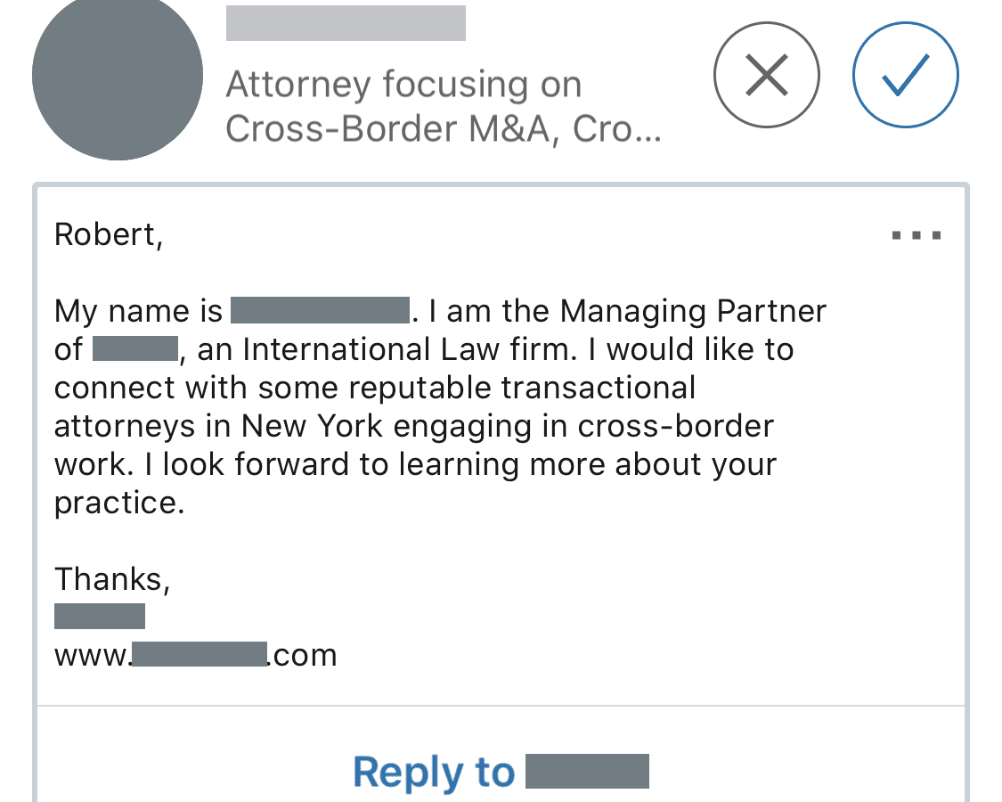 LinkedIn Communication from someone who spammed me because something in my profile gave their search query the idea I am running a law firm.
