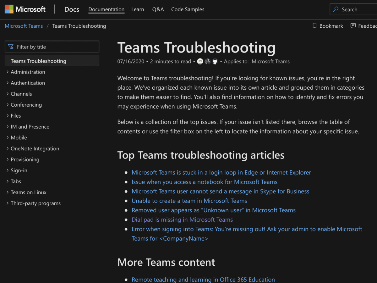 Microsoft Teams Troubleshooting